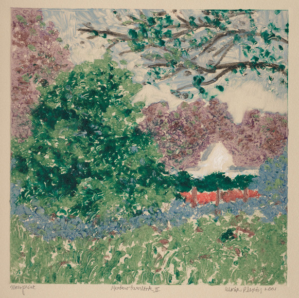 Gloria Plevin (American, 1934-  ). Painter, printmaker, philanthropist, who studied at CIA during the mid to late 1960s. Meadow Overlook II (2001). Color monotype, 36 x 35.2 cm. The Cleveland Museum of Art, Gift of Michael Verne 2002.108