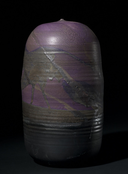 Toshiko Takaezu (American, 1922-2011). Ceramic artist, painter; on CIA faculty 1959-1966. Purple Form (1990s). Porcelain, 37.8 x 21.6 cm. The Cleveland Museum of Art, Gift of the Artist 2005.195