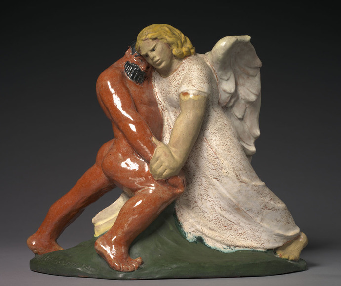 Walter Alexander Sinz c. '11 (American, 1881-1966). Sculptor; on CIA faculty 1913-1952. Jacob Wrestling with the Angel (1943). Glazed ceramic, 32.2 x 37.8 x 14.4 cm. The Cleveland Museum of Art, Gift of Hilda Kisella 2007.187