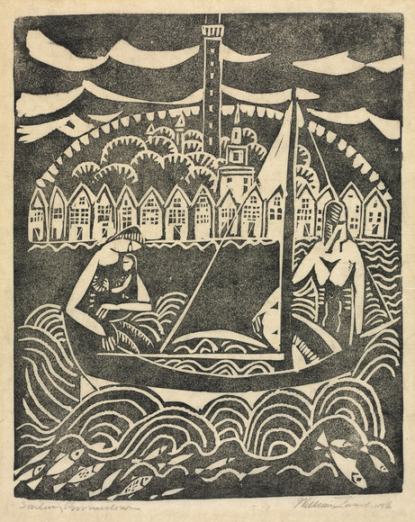 William Zorach (American, 1887-1966). Sculptor, painter, printmaker, who took night classes at CIA 1905-1907. Sailing Provincetown (1916). Linoleum cut, 27.2 x 21.9 cm. The Cleveland Museum of Art, Purchase from the Karl B. Goldfield Trust 2009.356