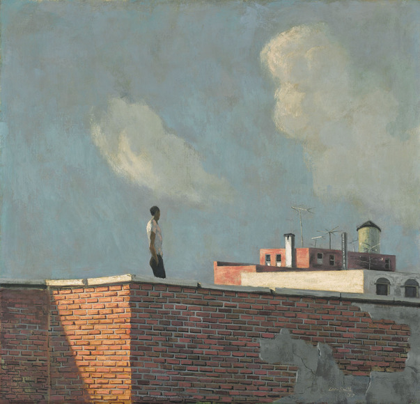 Hughie Lee-Smith '38 (American, 1915-1999). Painter, teacher. Untitled (Rooftop View) (1957). Oil on masonite, 61 x 63.5 cm. The Cleveland Museum of Art, Purchase from the J. H. Wade Fund 2009.7