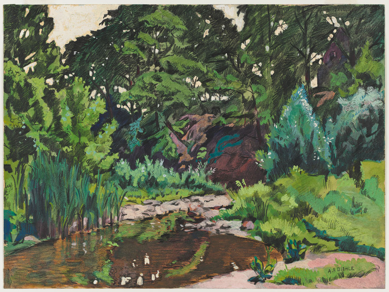 August Frederick Biehle, Jr. (American, 1885-1979). Painter, who studied at CIA with Frederick C. Gottwald and Henry G. Keller, c. 1907-1910. Creek, Parma (1937). Watercolor. The Cleveland Museum of Art, Hinman B. Hurlbut Collection 2235.1938