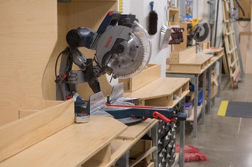CIA's wood shop has two miter saw stations.