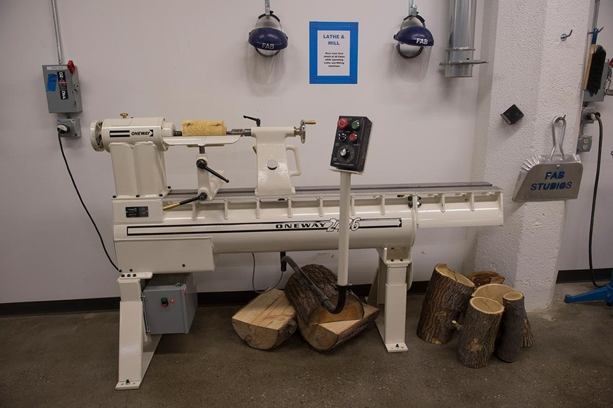 The Oneway lathe in the wood shop allows for turning round objects, such as bowls and legs.