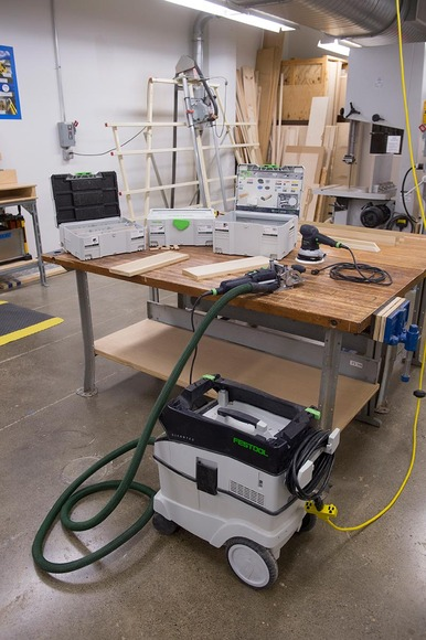 In the wood shop, students may access part of the Festool lineup: the Domino joiner, circular saws, routers, sanders and more.