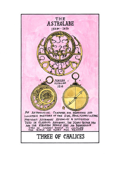 <strong>Three of Chalices- The Astrolabe</strong><br />Suzanne  Treister, 2009-11<br />archival giclee print with watercolor on Hahnemuhle Bamboo, courtesy of P.P.O.W Gallery New York, NY.