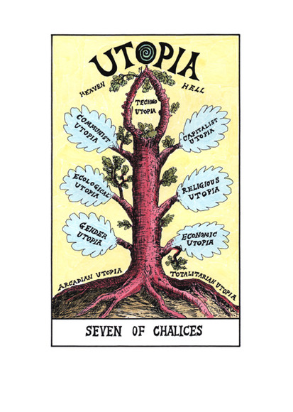 <strong>Seven of Chalices- Utopia </strong><br />Suzanne  Treister, 2009-11<br />archival giclee print with watercolor on Hahnemuhle Bamboo paper, courtesy of the artist and P.P.O.W Gallery New York, NY.