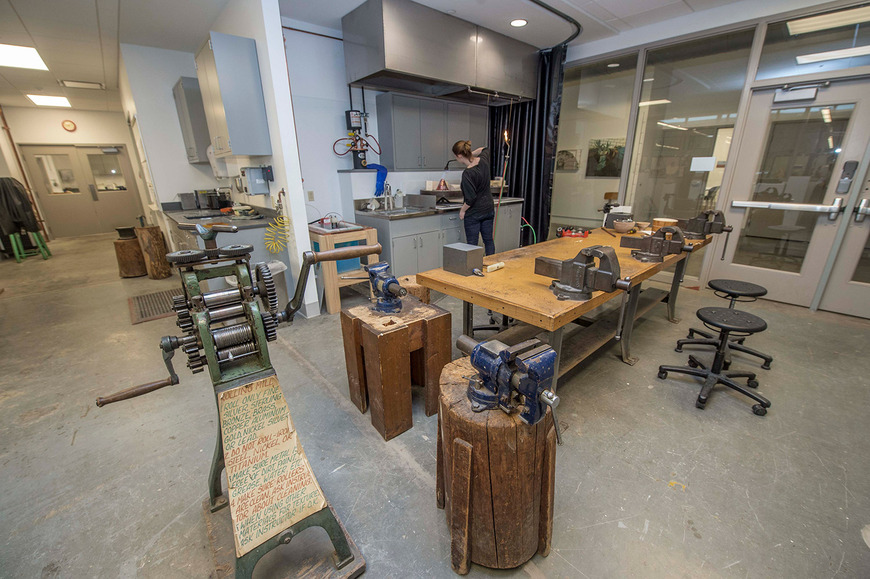 The studio allows for the practice of traditional metalsmithing, so students learn a full range of techniques for fabricating, annealing and soldering.