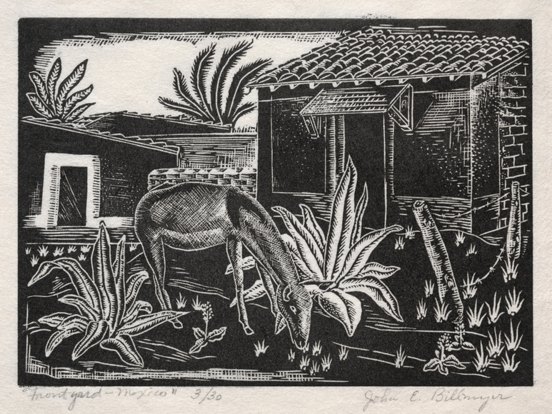 John Edward Billmyer '35 (American, 1912-2000?). Front Yard, Mexico (c. 1938). Wood engraving. The Cleveland Museum of Art, Gift of The Print Club of Cleveland 1938.275