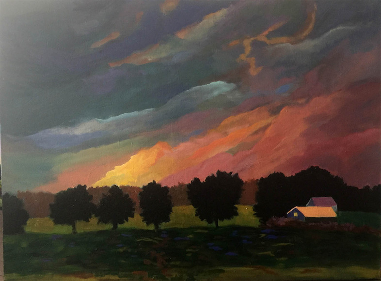 <strong>&quot;Black Trees at Sunset&quot;</strong><br />Bonnie Dolan 30&quot; x 40&quot;, oil on canvas