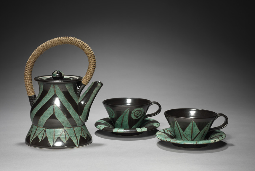 William Brouillard (American, 1947-  ). Ceramic artist, designer; CIA faculty 1981-present (2013). Teapot with Lid (1987-88). Ceramic, fiber, 26.1 x 16 x 19.1 cm (overall), and two cups with saucers. The Cleveland Museum of Art, Educational Purchase Fund 1988.1114, 1988.1115, and 1988.1116.