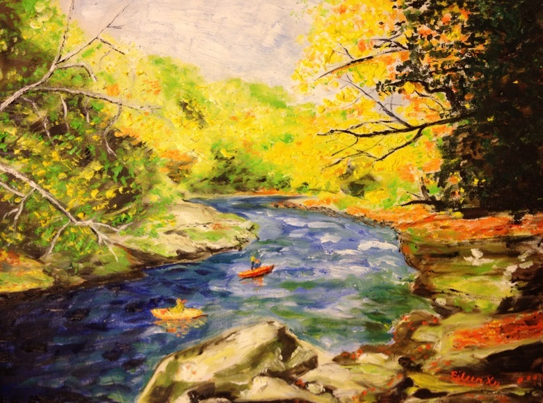<strong>Canoeing in Autumn Leaves - Honorable Mention, Visual Arts Category</strong><br />Eileen Xu, Junior<br />Franklin Regional Senior High School; Hometown: Murrysville, PA