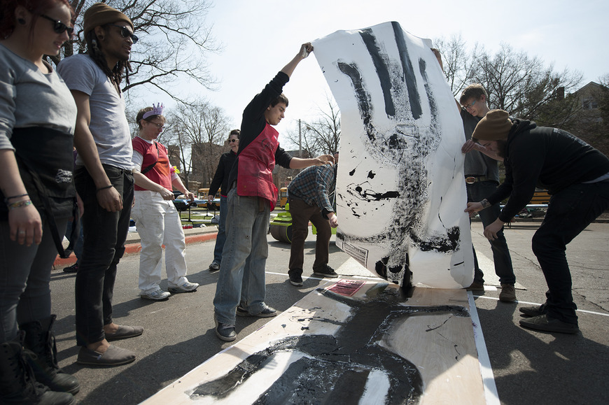 Students created monumental steamroller relief prints, which then traveled on exhibit around the region.