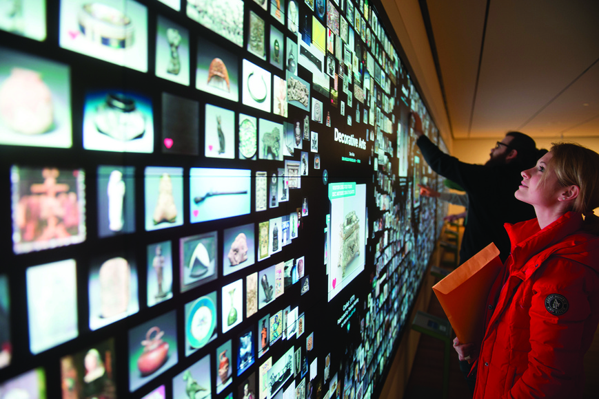 Students frequently utilize the state-of-the-art interactive wall at the Cleveland Museum of Art.