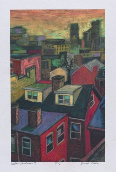"Bonita (""Bonnie"") Dolin '73 (American). Painter, printmaker; on CIA faculty 1997-2000 (Cont. Ed.). Urban Landscape #1 (2001). Color electrostatic copier and heat transfer, 61.3 x 47.8 cm. Gift of the University Print Club 2007.311"