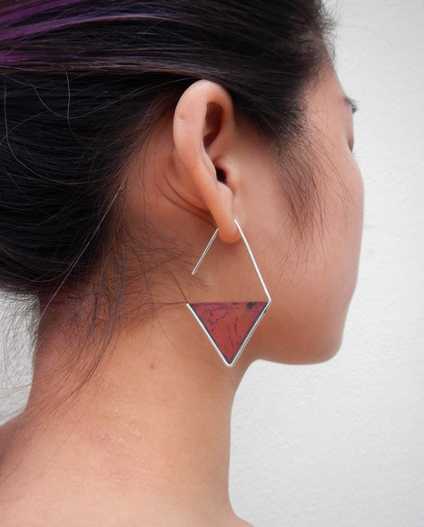 Mara Kauffman-Puchall, Senior<br />Best in Show, Best in Category: Interdisciplinary&lt;br&gt;Diamond Triangle earrings