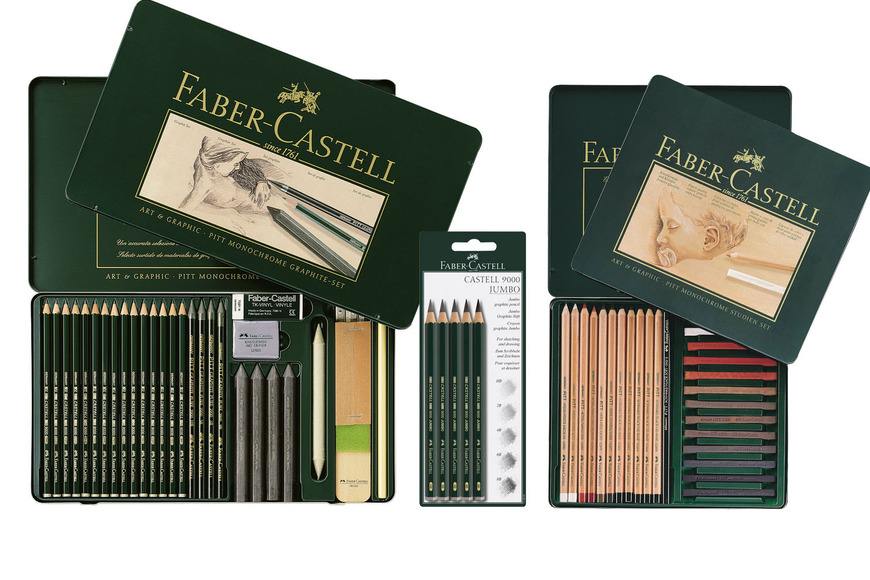 Craft category prize: PITT Monochrome graphite set metal tin of 29 pieces, PITT Studio Set Monochrome, and Castell 9000 Jumbo graphite pencil set of 5; value $219.05.