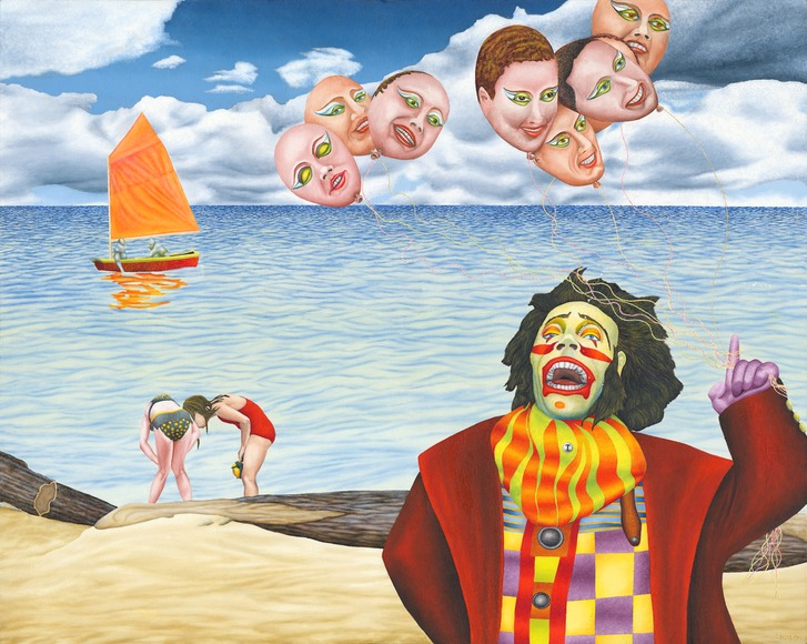<strong>Fear of Clowns</strong><br />Joe Stavec, 2008<br />Oil on Canvas