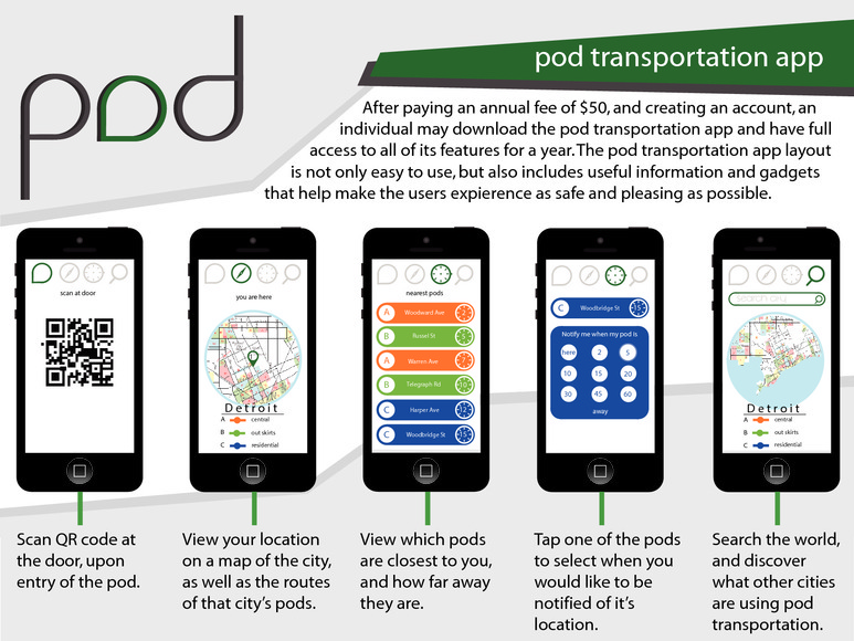 <strong>Pod Transportation App - Honorable Mention, Design</strong><br />Conner  Stormer, Junior<br />Stoney Creek High School; Hometown: Rochester, MI
