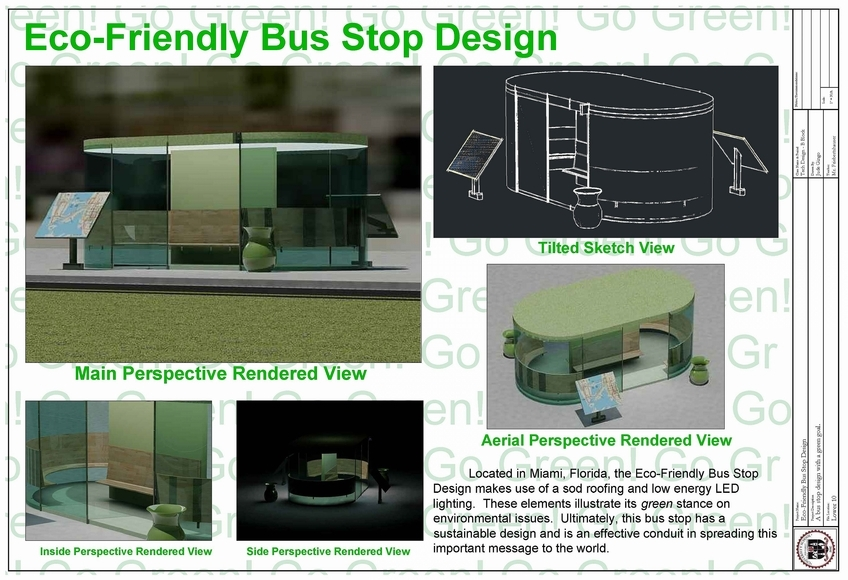 <strong>Green Bus Stop - Honorable Mention, Design Category</strong><br />Jude Gingo, University School - Hunting Valley, Ohio