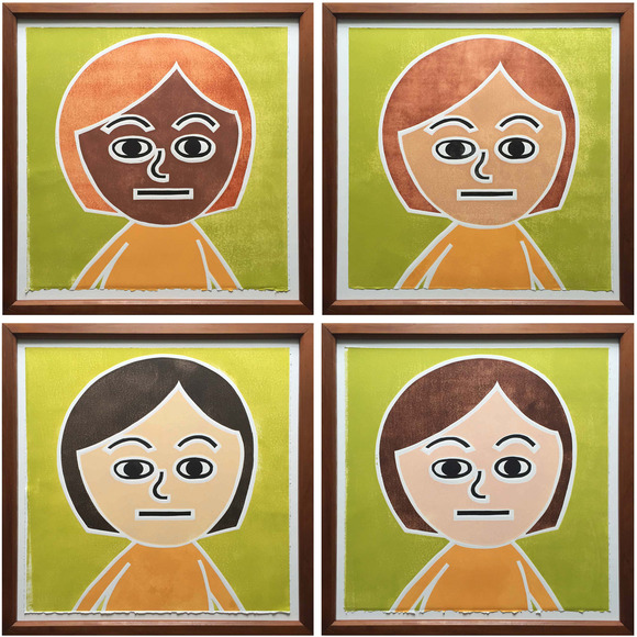 <strong>&quot;Avatar Portraits&quot;</strong><br />Jennifer Leach each of 4 prints 17&quot; x 17&quot;, woodcut print on paper