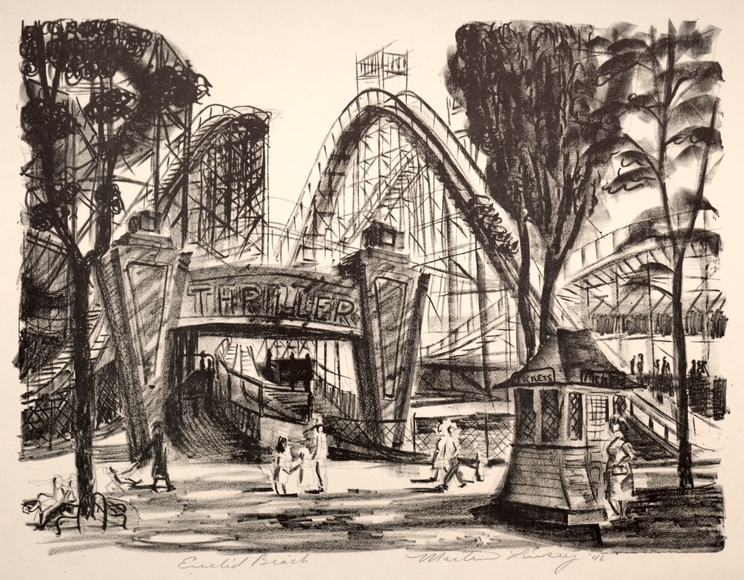 Martin Linsey '39 (1915-2010). Painter, printmaker, photographer, educator for the Cleveland Museum of Art. Cleveland: Euclid Beach (1946). Lithograph. Gift of Mr. and Mrs. William S. Kinney 1947.304.5