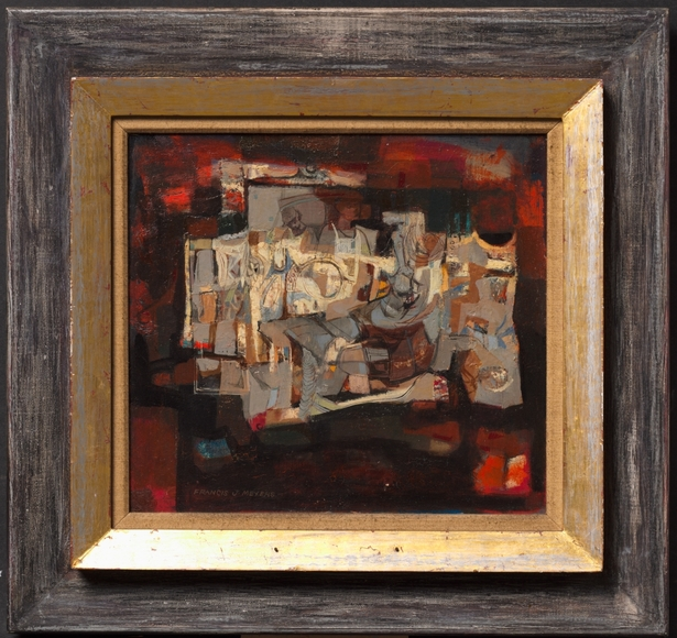 Francis J. Meyers '51 (American, 1921-1998). Sculptors in Junkyard (1958). Oil on masonite, 31.3 x 34.3 cm. The Cleveland Museum of Art, Silver Jubilee Treasure Fund 1958.251