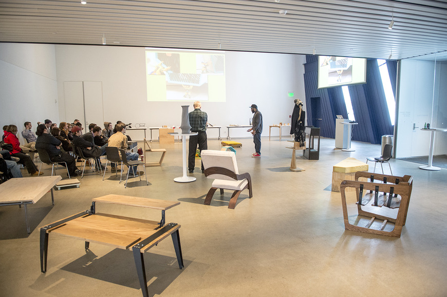 The Museum of Contemporary Art (MOCA) has been a regular sponsor of CIA's annual furniture design project. Shown here is the final presentation of the work, for MOCA staff and public input.