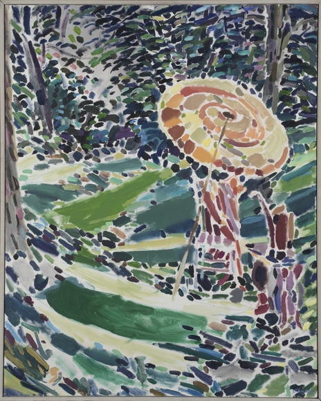 Joseph O'Sickey '40 (American, 1918-2013). Painter, commercial artist, illustrator, who also taught for many years at Kent State University. Garden Scene with Umbrella (c. 1965). Oil on canvas, 101.5 x 80.6 cm. The Cleveland Museum of Art, Bequest of Shuree Abrams 2007.168