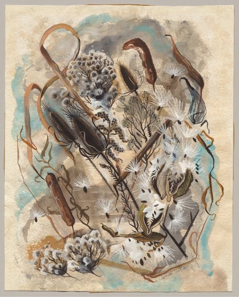 Miriam Smith Peck '33 (1910-1984). Enamellist, jeweler, watercolorist, teacher in Northeast Ohio public schools. Odds and Ends and Cattails (1948). Watercolor. Cleveland Traveling Exhibitions Fund 1949.47