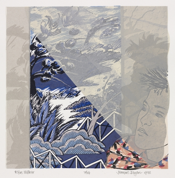 Jeanne M. Smith Regan '75 (American, 1952-  ). Artist. On CIA faculty 1994-2000. Art teacher at Laurel School since 1997 Blue Willow (1998). Color lithograph and screenprint, 50.6 x 43.4 cm. Gift of the University Print Club 2007.306