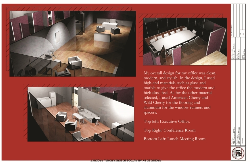 <strong>Interior Design Office Plan - Honorable Mention, Design</strong><br />Robert  Pace, Sophomore<br />University School; Hometown: Shaker Heights, OH