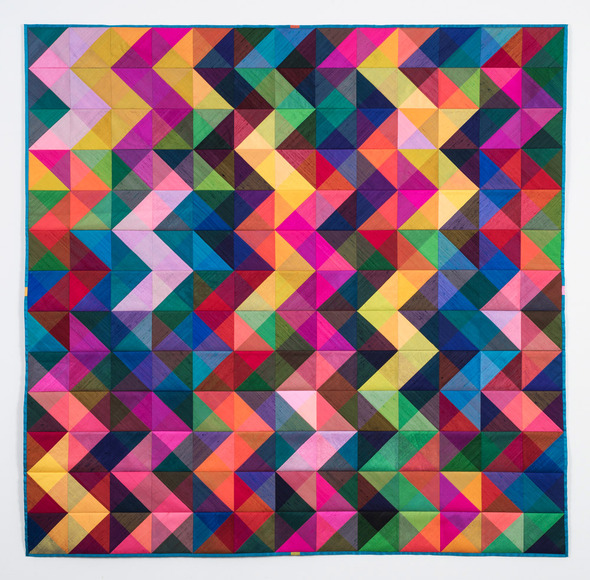Petra Soesemann, Chair, Foundation Department<br /> <i>Reconstructed Color</i>, 2015. Silk, cotton, synthetic batting, machine-sewn, 62x62 in.