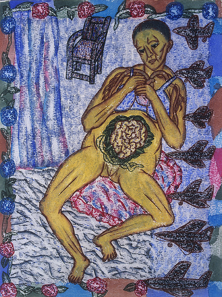 <strong>The Embroidered Abdomen </strong><br />Arpita Singh, 2003<br />watercolor on paper, courtesy of Vadehra Art Gallery, New Delhi, India and DC Moore Gallery, New York.