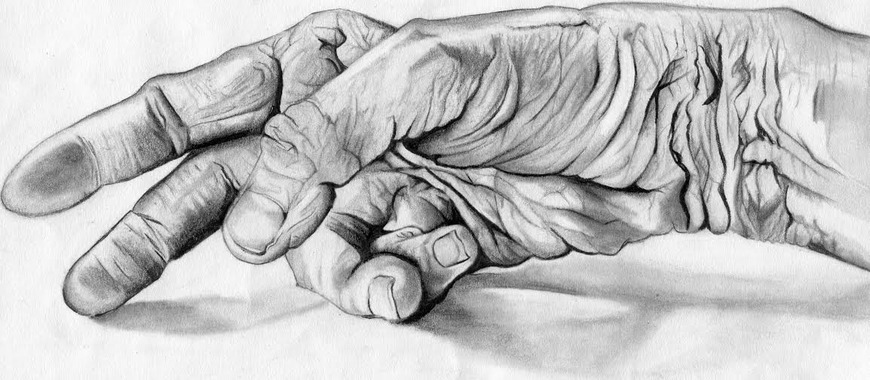 <strong>The Old-Man's Hand - Honorable Mention, Visual Arts Category</strong><br />Marie Miklus, Junior<br />Centre High School; Hometown: Burdick, KS