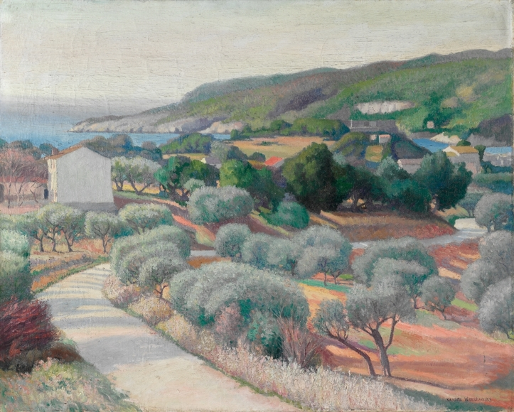 Alexander Warshawsky (b. Poland, 1887-1945). Painter, who studied briefly at CIA. Overlooking the Mediterranean (1921). Oil on canvas, 64.8 x 81.3 cm. Anonymous Gift 1922.324