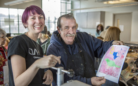 Printmaking project links students with seniors and their stories