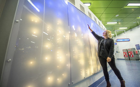 Interactive mural by Jessica Langley '05 represents the energy of Cleveland