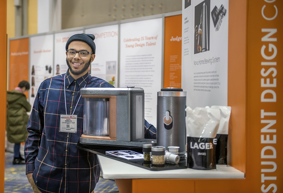 Student Brandon Rodriguez at the 2018 International Houseware Association's Annual Student Design Competition