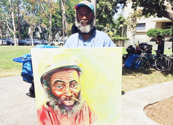 Successful automotive designer returns to painting and brings love, validation, and assistance to homeless people