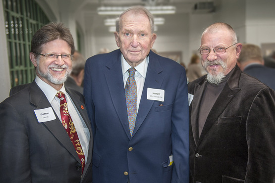 Cleveland Institute of Art President Grafton Nunes with former presidents Joseph McCullough '48 and David Deming '67