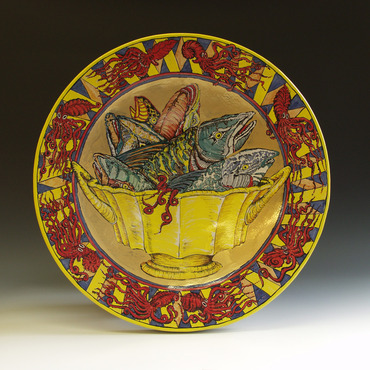 <strong>&quot; Fish Bowl with Red Octopi&quot;</strong><br />William Brouillard, 2009<br />Red Earthenware with majolica style glazing, fired to cone 04 oxidation and cone 018 for gold luster, 26&quot;x26&quot;x5&quot;