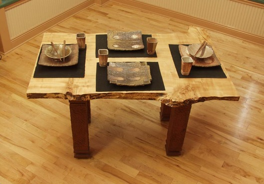 <strong>&quot;Rustic Table #1&quot; with dinnerware</strong><br />William  Brouillard, 2010<br />Maple and mahogany wood, with wood fired stone ware dishes
