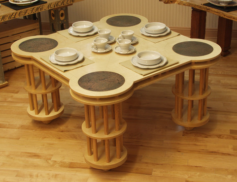 <strong>&quot;Tinker Toy Table #3&quot; with Blue Dot Dinnerware</strong><br />William  Brouillard, 2012<br />Plywood, Oak dowels, copper plates and steel, Porcelain dishes fired to cone 6 oxidation