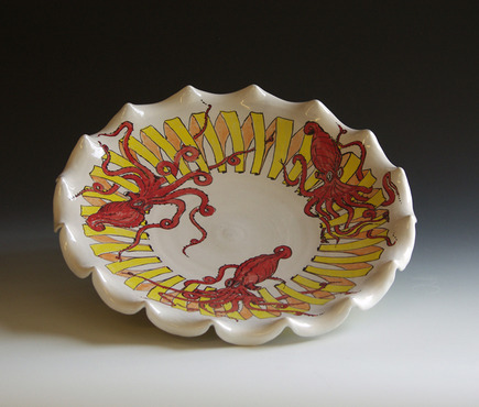 <strong>&quot;Octopi Platter with Yellow Ribbon&quot;</strong><br />William Brouillard, 2011<br />Red earthenware, wheel thrown and altered, with majolica style glazing, fired to cone 04 oxidation, 19&quot;x19&quot;x3&quot;