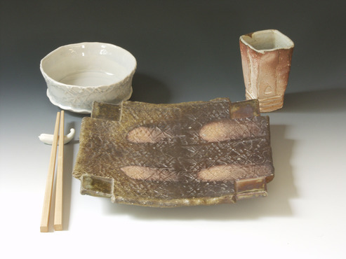 <strong>&quot;Dinnerware for Rustic Table #1&quot;</strong><br />William Brouillard, 2010<br />Stoneware fired to cone 10 reduction in anagama style kiln