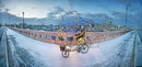 <strong>Twinkling Tricycle Tour of Enchantment</strong><br />Jimmy Kuehnle, 2012<br />300 LEDs, Battery, Worksman Industrial Tricycle, Steel, Enchantment